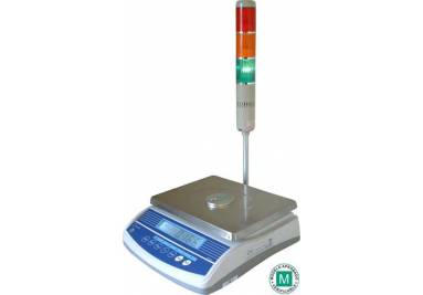 Check-weighing scale with traffic light